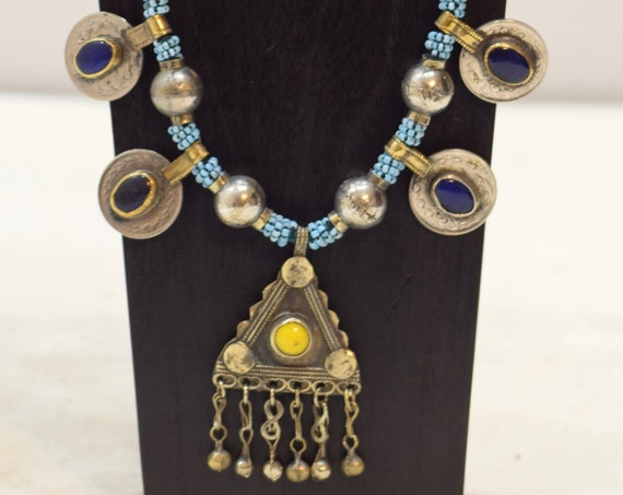 Necklace Middle East Blue Beaded Silver Pendant Kuchi Necklace 28""