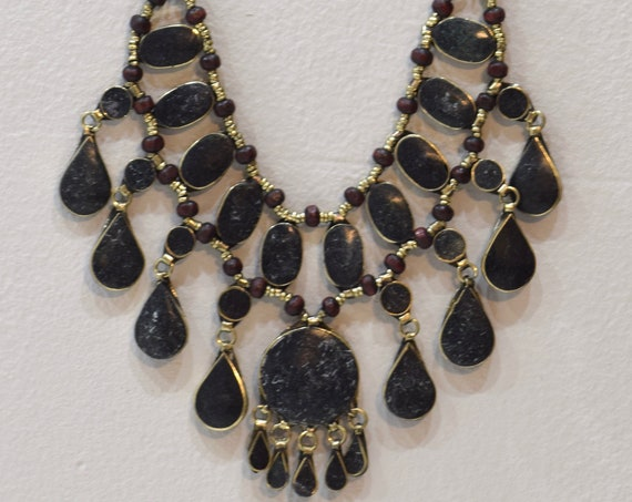 Necklace Middle East Black Stone Silver Tribal Necklace 28""
