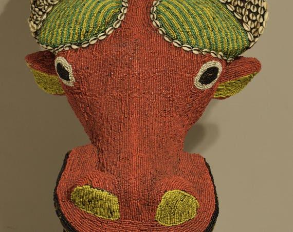 African Mask Water Buffalo Beaded Mask Bamileke Cameroon Ceremonial Red Beaded Water Buffalo Mask