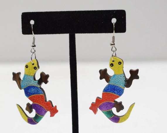 Earrings Painted Wood Chameleons