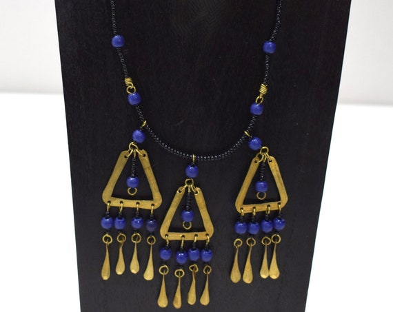 Necklace Africa Brass Triangle Necklace 22""
