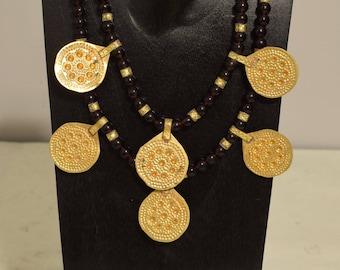 Necklace Purple Czech Glass  Doule Strand Brass Middle Eastern Pendants Handmade Brass Beads Pendants Purple Glass  Necklace