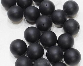 Beads Black Matte Round Resin Beads 14mm