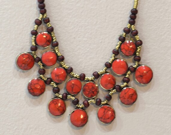 Necklace Middle East Simulated Coral Tribal Necklace 22""