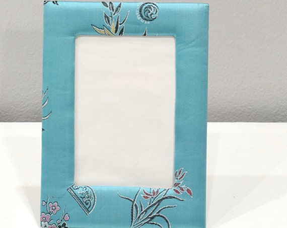 Picture Frame Chinese Pale Turquoise Satin Brocade  Frame 5x7