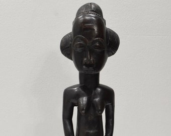African Statue Baule Tribe Female Carved Wood Statue