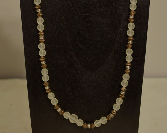 Necklace Czechoslovakian Frosted Glass  Silver Gold Hand Beaded Suit Jewelry Necklace