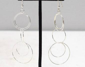 Earrings Silver Long Hoop Dangle Earrings