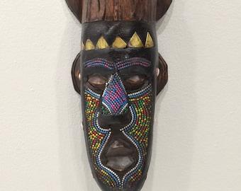 African Mask Ashanti Horned Beaded Mask Ghana