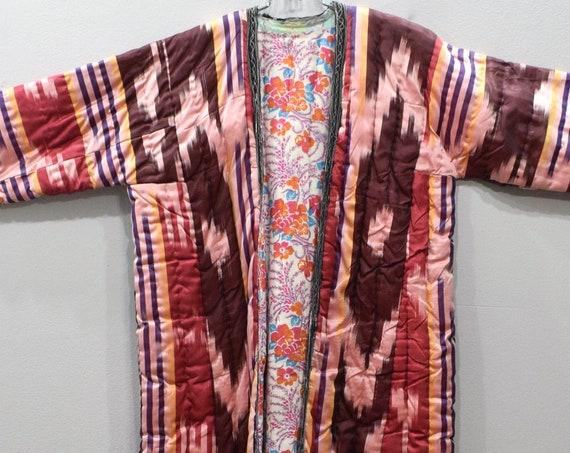 Coat Pink Ikat Uzbek Afghanistan Chapan