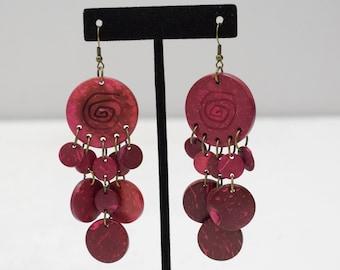 Earrings Red Coconut Dangle Earrings