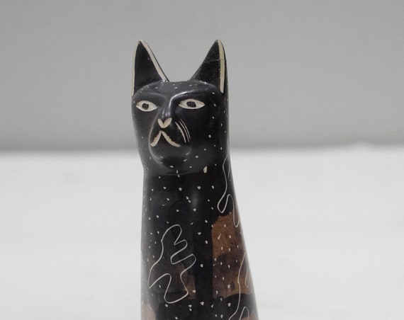 Cat Soapstone Carved Cat Figurine Sculpture Hand Painted Kenya