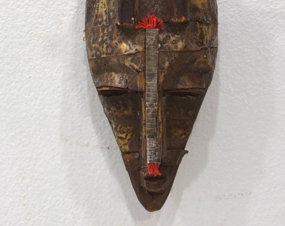 African Mask Marka Brass Wood Burkina Faso Mali