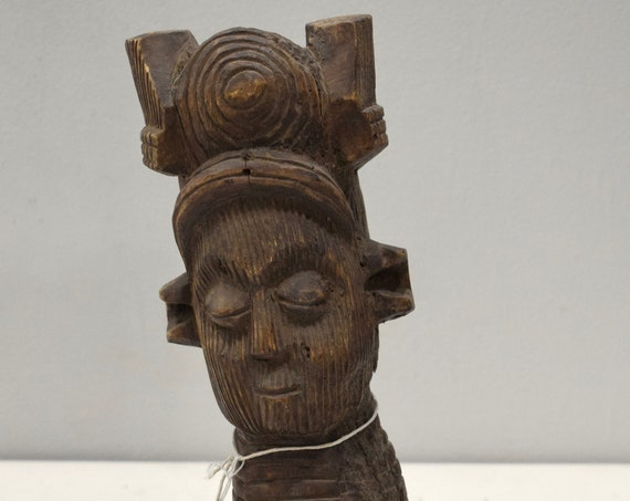 African Kuba Tribe Head Statue Cowrie Shells Kuba Tribe Statue