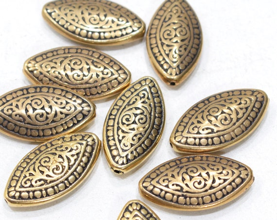 Beads Gold Textured Oval Beads 32mm