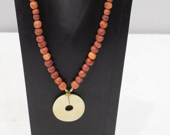 Necklace Apple Coral Bone Pendant Necklace