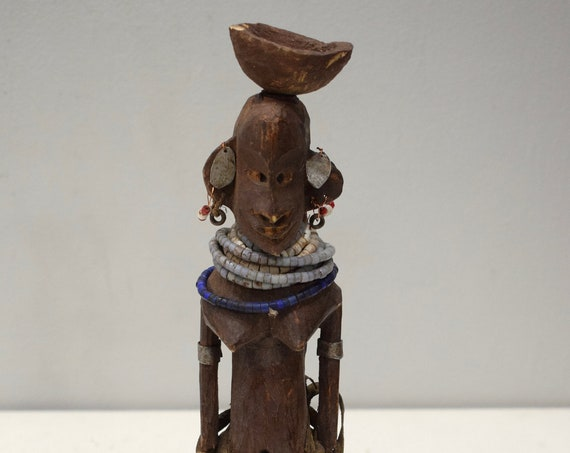 African Doll Turkana Female Wooden Hand Carved Doll Kenya