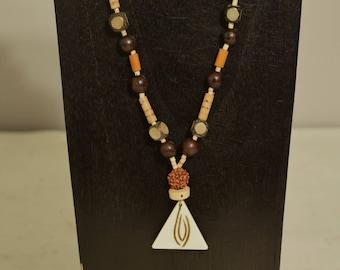 Necklace Indonesian Bone Pendant Mala Bead Horn Wood Hand Beaded Jewelry Necklace
