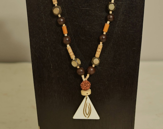 Necklace Indonesian Bone Pendant Mala Bead Horn Wood Hand Beaded Jewelry Necklace