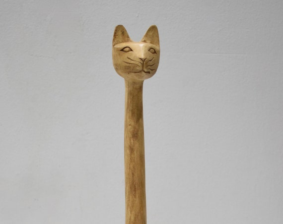 Cat Statue Hand Carved Wood Philippine Cat Statue