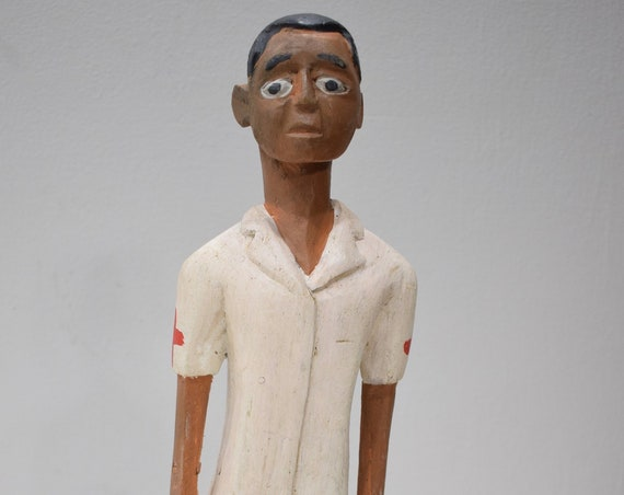 African Statue Colonial Doctor Statue Figure African Doctor Uniform Male Statue