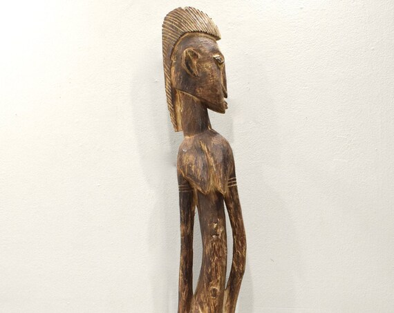 African Dogon Male Wood Bent Statue Mali