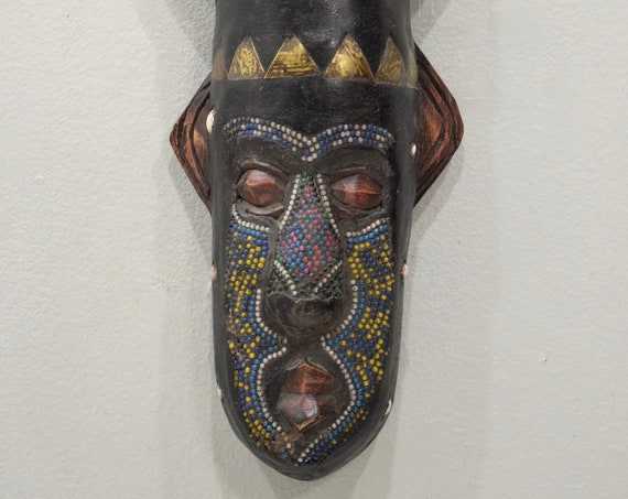 African Mask Ashanti Horned Wood Brass Yellow Red Beaded Mask Ghana Handmade Queen Mask Ceremonial Ancestor Mask Unique Statement