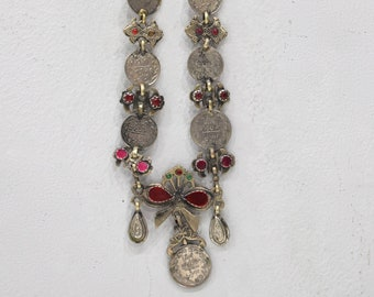 """Necklace Middle Eastern Silver Kuchi Coin  Red Glass 30"""""""