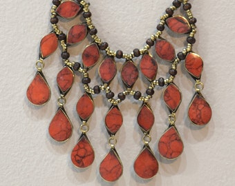 Necklace Middle East Simulated Coral Teardrop Tribal Necklace 22""
