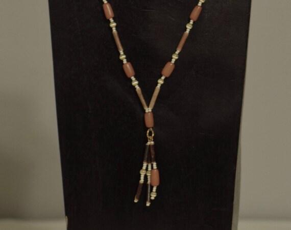Necklace Buri Nut Wood Pearl Seed Beads Handmade Cat Eye Beads Brown Wood Orange Buri Pendant Beaded Necklace