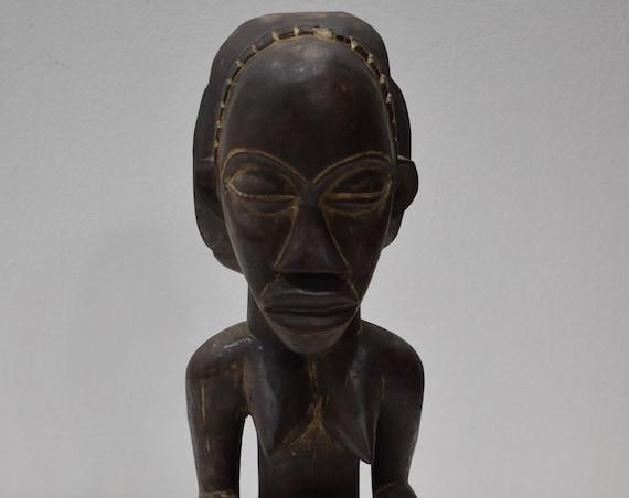 African Statue Luba Wood Figure Zaire