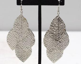 Earrings Oval Leaf Textured Tier Earrings
