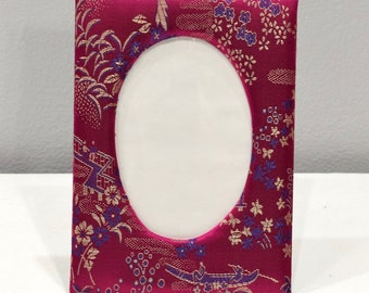 Picture Frame Chinese Red Satin Brocade  Frame 5x7