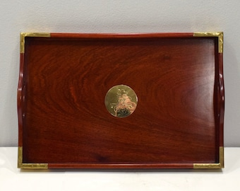 Chinese Rosewood Brass Vintage Tray