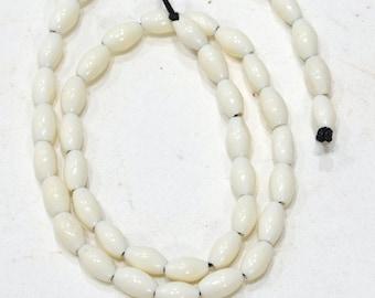 Beads Indonesian White Oval Bone Beads