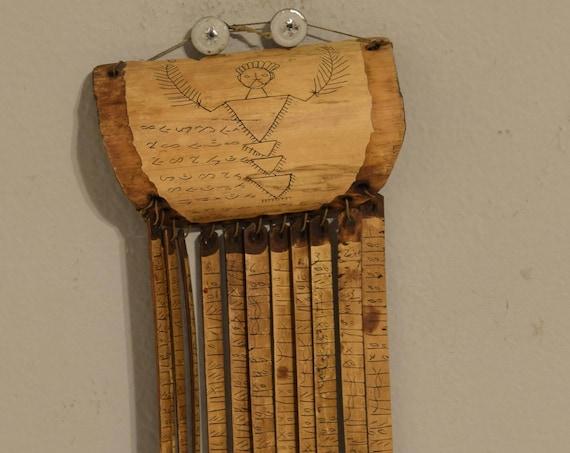 """Sumtra Calendar Wood Bamboo Batak People Luna 12 Month Shaman Calendar 8  1/2"""""""