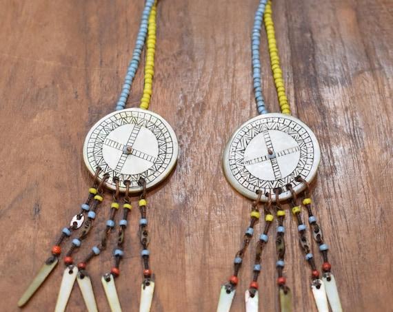 """Philippines Earrings Ilongot Mother of Pearl Shell Beaded Earrings 3"""""""
