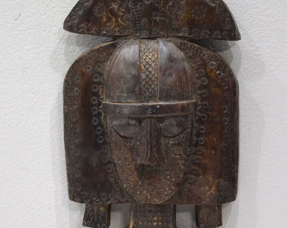African Mask Bakota Reliquary Copper Gabon Mask