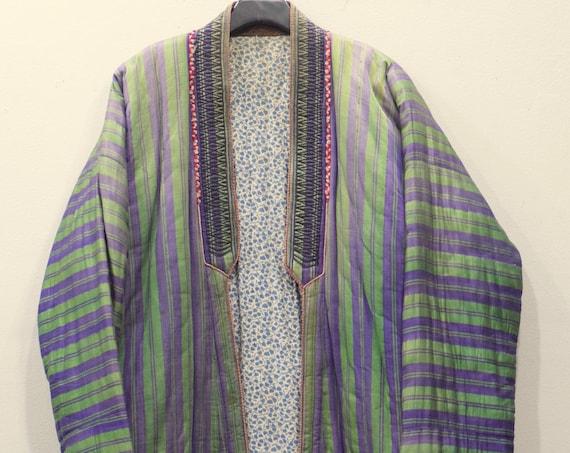 Coat Chapan Central Asia Mens Green Purple Stripped Silk Coat