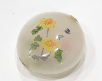 Beads Chinese Yellow Reserve Painted Glass 40mm