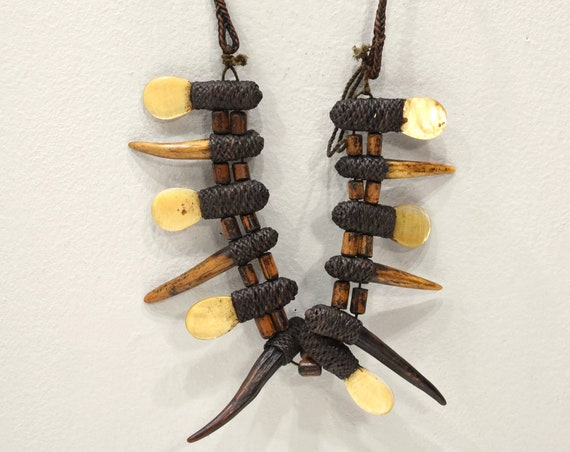 Necklace Philippine Ifugao Tribal Shell Claw Necklace Rattan Necklace