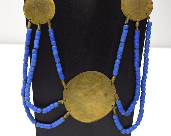 Necklace African Old Turkana Brass Blue Glass 22""