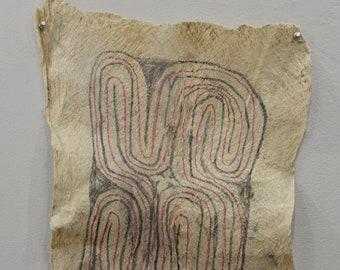 "Papua New Guinea Barkcloth Ceremonial Baining Cloth Tapa Cloth 26.5"""