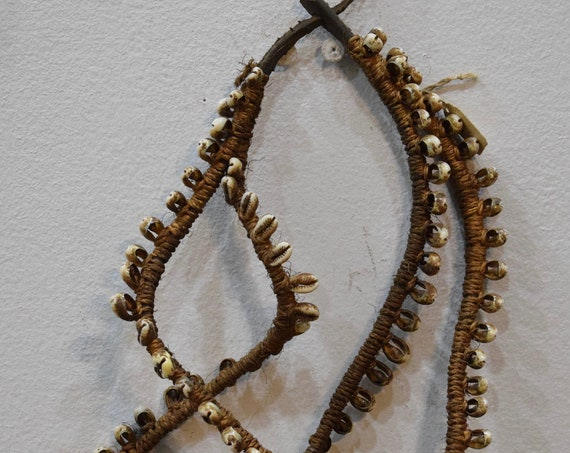 African Necklace Belt Cowrie Shell Woven Sisal Kamba Triba Kenya Currency Adornment