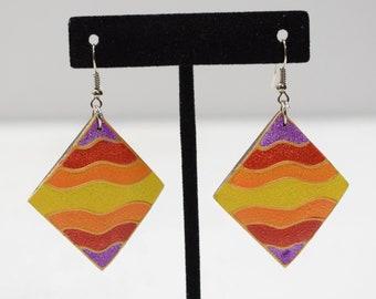 Earrings Painted Wood Triangles