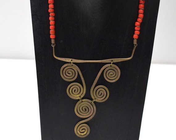 Necklace Africa Turkana Brass Red Glass Necklace 20""