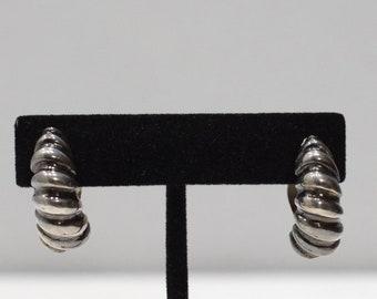 Earrings Sterling Silver Twist Hoop Clip Earrings