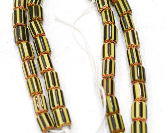 Beads African Black Yellow Glass Cubes 10-12mm