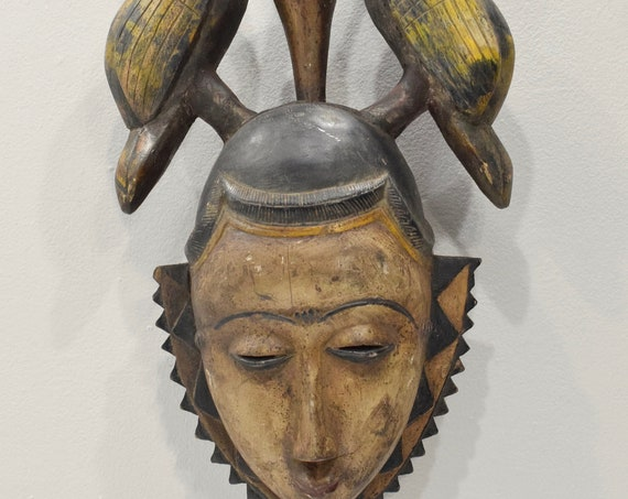 Mask African Baule Yellow Bird Crest Mask 23""