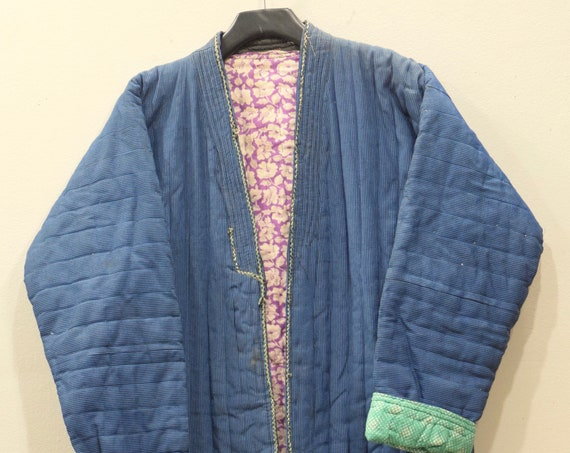 Coat Chapan Central Asia Mens Teal Blue Quilted Stripped Silk Coat